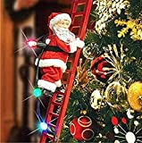 WHSW Tree Hanging Decorations,Santa Claus Electric Climbing Ladder, Santa Claus Climbing Ladder Doll, Christmas Decoration with Music and LED Light for Christmas Tree, Electric Santa Claus Toy