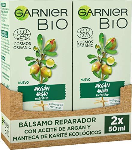 Garnier BIO Bálsamo Reparador con Aceite de Argán y Manteca de Karité Ecológicos y Vitamina E - Pack de 2 x 50 ml (Total: 100 ml)