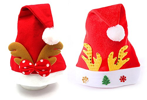 AprilElst Christmas Santan Hat Lovely Renna Horn Cloth Christmas Hat per Xmas Party Chrildren Decorazione adulti