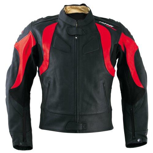 Roleff Racewear Verona Lederjacke, Schwarz/Rot, Größe 52