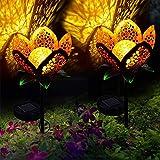 Willlly Im Freien Solarlicht Ip65 Wasserundurchlässig Chic In Form Von Blumen Campo Palustre Weißes Licht Warmes Land Dekoratives Licht Für Garten Patio Pfannen Garten 2 Stück (Color :...