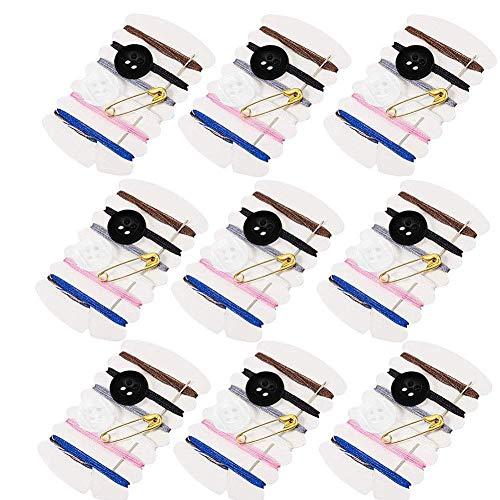 Kit da cucito da viaggio, per riparazioni, con filo in 6 colori, ago, bottoni, spilla, per alberghi, 100 set