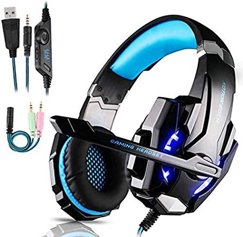 Gaming-Headset, Xbox One, Headset mit Stereo-Surround-Sound, PS4, Gaming-Headset mit Mikrofon und LED-Licht, Geräuschunterdrückung, Gaming-Kopfhörer mit Mikrofon, kompatibel für PC, PS4, PS5, Xbox One