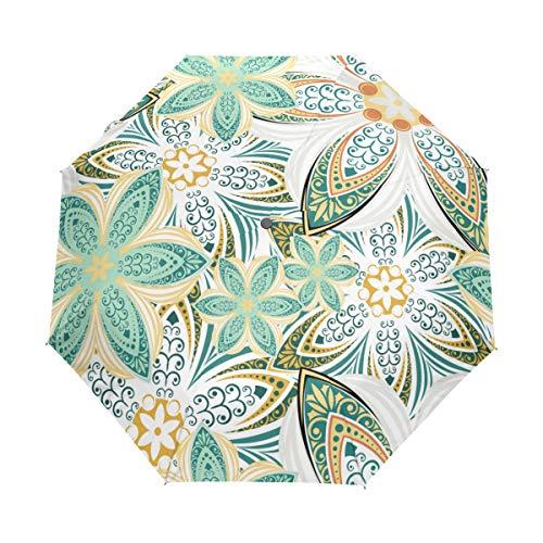 Jeansame Bloem Mandala Gestreepte Opvouwbare Compacte Paraplu Automatische Regen Paraplu's voor Vrouwen Mannen Kid Jongen Meisje