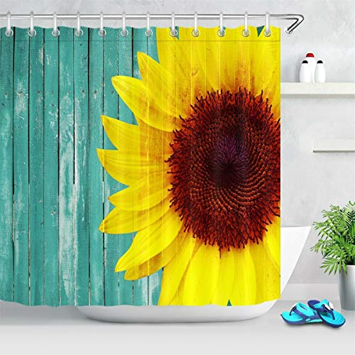 不适用 Sonnenblumen auf rustikalem Retro Holzbrett Stoff Duschvorhang