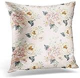 GFGKKGJFF - Funda de cojín para sofá, diseño de peonías y hortensias de color rosa pálido con hojas grises sobre el acuarela romántica de flores de jardín delicadas de lona, 45,7 x 45,7 cm