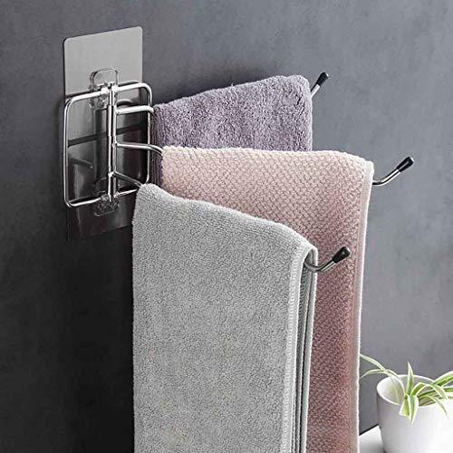 Handtuchhalter, Drehbar 180 Grad Badezimmer Handtuchstange Bad Ohne Bohren Türgarderobe Türhaken Haken für Wandmontage - Handtuchhalter zum Kleben Einfache Montage