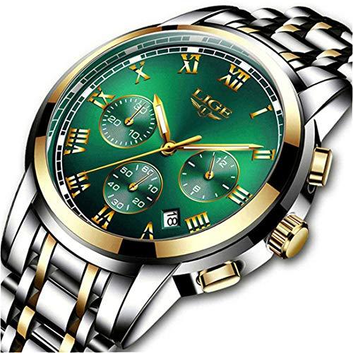 LIGE Uhren Herren wasserdichte Edelstahl Chronograph Sport Analog Quarzuhr Männer Luxusmarke Mode Armbanduhr Mann (Steel Green)