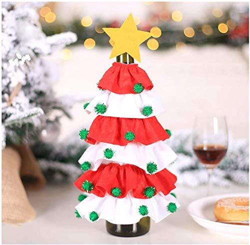 Cubierta de botella de vino Bolsa de cubierta de botella de Navidad Decoración de botella de vino de Navidad Decoración de Navidad para el hogar Decoración navideña de vacaciones Diseño de árbol de Na