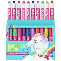 Geschenke für Mädchen - Haarkreide-Set für kleine und große Mädchen - 10 x allergenfreie Haarfärbestifte - Auswaschbare temporäre Haarfarben