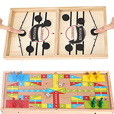 INNOLV Fast Sling Puck Game Paced & Ludo Game (Flying Chess Game) 2 in 1 Super Winner Board Foosball Puckett Board Game Table Desktop Battle for Kids Adults Parent-Child Interactive Chess Toy