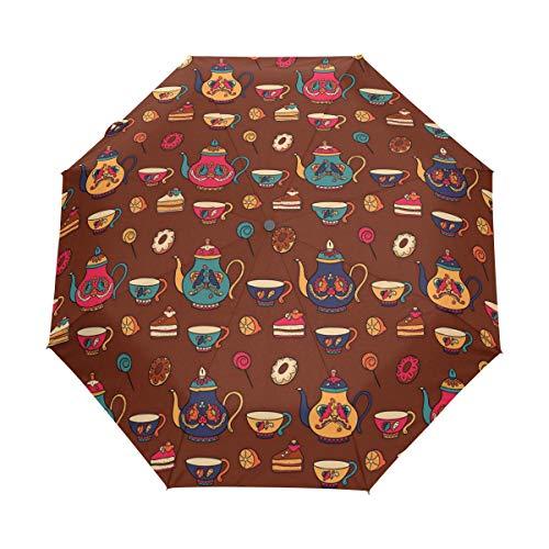 Jeansame Vintage Teekanne Kaffeetassen faltbar kompakter Regenschirm Automatik Regenschirm für Damen Herren Kinder Jungen Mädchen