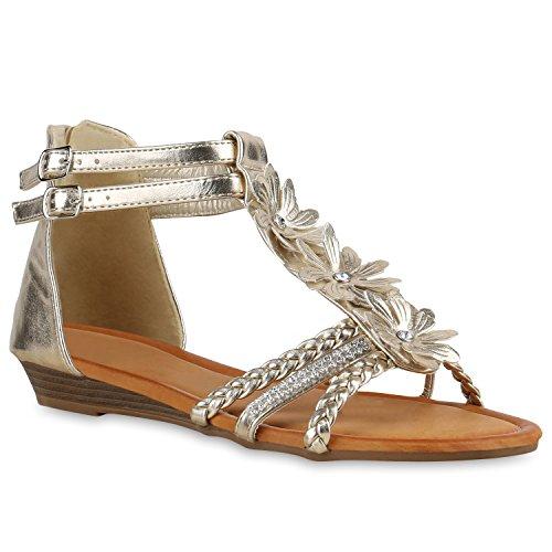 Damen Sandaletten Brautschuhe Hochzeitsschuhe Riemchen Sandalen Keilabsatz Keilsandaletten Wedges Hochzeit Schuhe 138416 Gold 36 Flandell