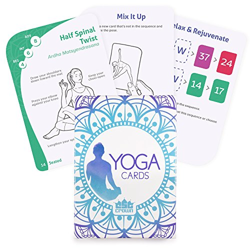 Crown Sporting Goods 796520356399 63 Card Yoga Exercise Deck-45 Poses