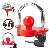 Tevlaphee Trailer Ball Lock Hitch Coupler Towing Lock Ajustable Fácil instalación Resistente Acero y aleación de Aluminio Base para Remolque de caravanas Seguridad con 2 Llaves Amarillo (Rojo)