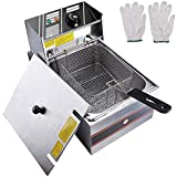 WeChef Commercial Single Tanks Electric Countertop Large Deep Fryer with Basket Restaurant Home Kitchen 2500W 12L