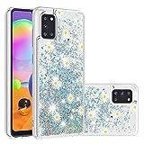 Miagon Custodia per Samsung Galaxy A31,Glitter Bling Sabbie Mobili Liquido Cover Protettivo Lucido Brillantini Trasparente Quicksand Silicone Case,Crisantemo