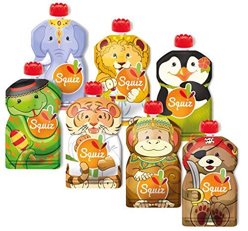 7er Pack Quetschie von SQUIZ 130 ml – der EINZIGE wiederverwendbare Quetschbeutel MADE IN SWITZERLAND, BPA frei, hält Dank patentiertem Druckverschluss garantiert dicht, für Smoothies, Joghurt, Babybrei