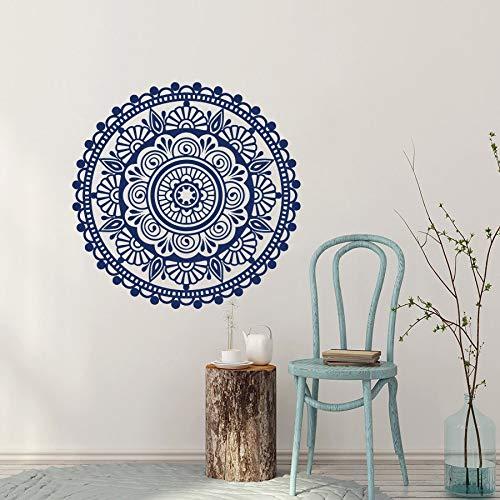 AQjept Estilo Chino Azul y Blanco Flor de Porcelana Mandala Tatuajes de Pared Arte Mural Vinilo Adhesivo decoración del hogar86x86cm