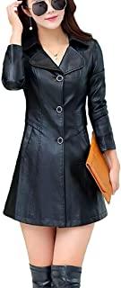 Women's Button Down Quilted Outwear Faux Leather Thicken Long Trench Coats