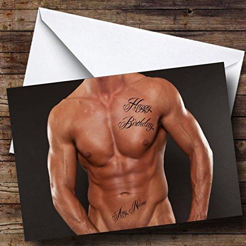 Sexy Mannen Lichaam Tattoo Gepersonaliseerde Verjaardagskaart