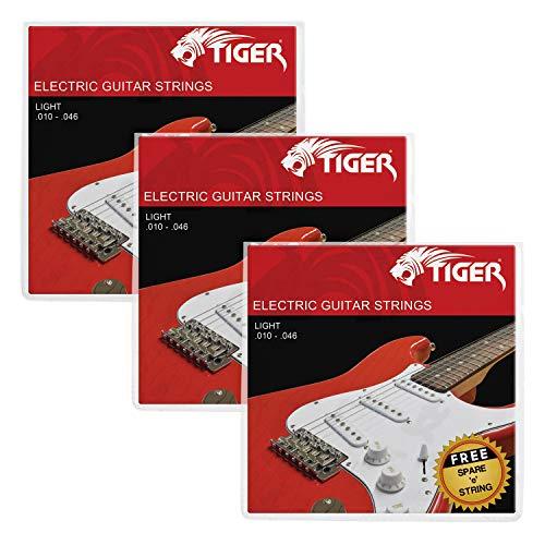 Tiger Cordes pour guitare électrique – Lot de 3 Light (10–46) des Ensembles