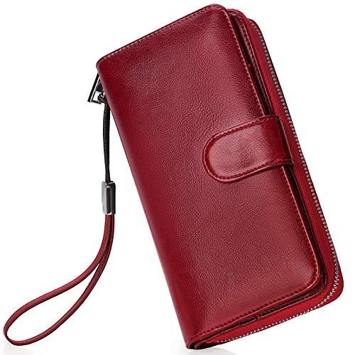 Monederos Mujer Cartera Cuero de Mujer Grande Capacidad Wallet con RFID Bloqueo, Larga Billetera Bolsos con Bolsillo de Cremallera y Correas de Muñeca Rojo