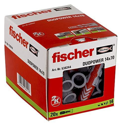 Fischer 25 Tasselli Duopower, 14 x 70 mm, per Muro pieno, Mattone Forato, Cartongesso, 538244