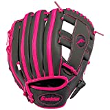 Franklin Sports Kids Baseball + Tball Glove - RTP Youth Baseball Glove - Boys + Girls Teeball, Youth Baseball Glove - Grey/Pink - 9.5' Right Hand Throw