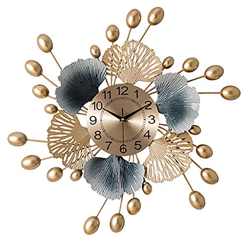 23.6 Inch Nordic Clock Wall Clock Living Room Modern Minimalist Creative Ginkgo Leaf Graphic Wall Watch Fashionable Home Decoration Clock