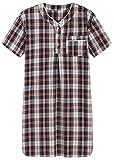 Latuza Men's Plaid Nightshirt Cotton Sleep Shirt XL NavyRed