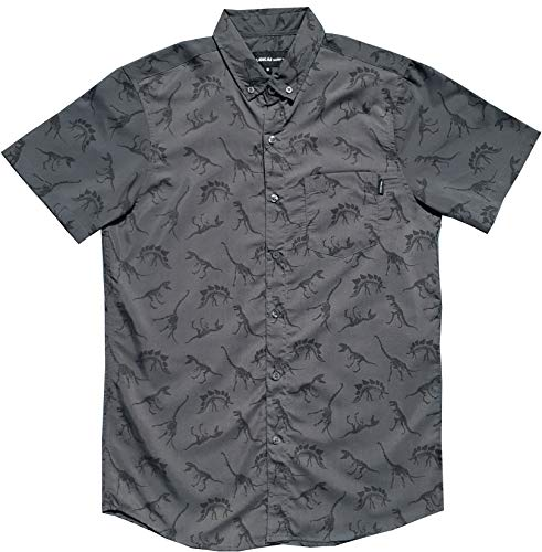 Molokai Shirts Fun Button Up Novelty (Dinosaurs (Charcoal Grey), 3XL)