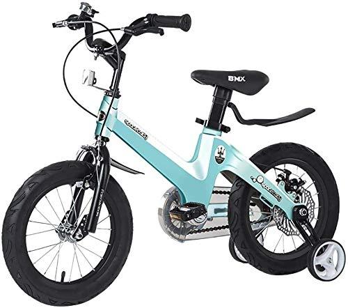 Los niños de la Bicicleta al Aire Libre Jugar con el Marco Ruedas de Entrenamiento de Ejercicio en Bicicleta de aleación de magnesio 12/14/16 Pulgadas for niños de 2-8 (Color : Blue, Size : 14in)