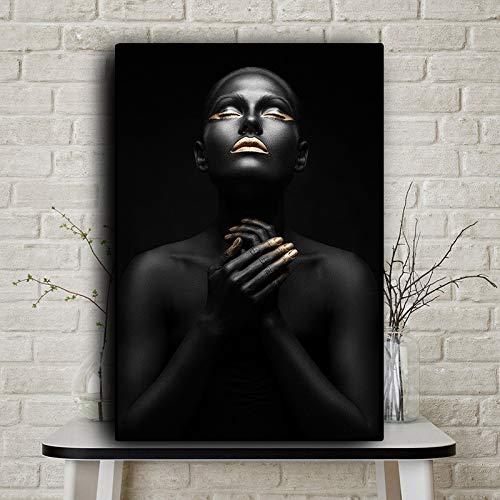 QWESFX Afrikanische Kunst beten Frau schwarz und Leinwand Malerei Kuh Malerei auf Leinwand weiß Kunstdrucke für Schlafzimmer Leinwanddrucke personalisiert (Druck ohne Rahmen) A1 35x70CM