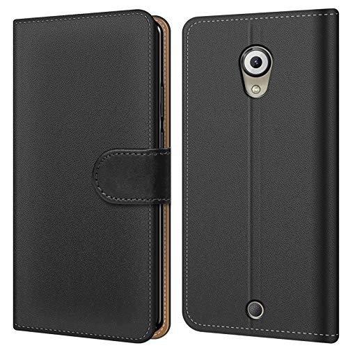 Conie BW46167 Basic Wallet Kompatibel mit Wiko U Feel, Booklet PU Leder Hülle Tasche mit Kartenfächer & Aufstellfunktion für U Feel Case Schwarz