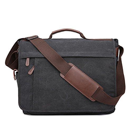Neuleben Vintage Groß Umhängetasche Schultertasche 17 Zoll Laptoptasche Canvas Messenger Bag Damen Herren (Schwarz)