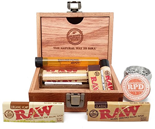 Bundle - 8 Items - Raw Wooden Box, Rolling Papers, Roller, Tips and RPD Grinder and Kewltube