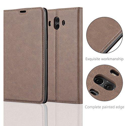 Cadorabo Hülle für Huawei Mate 10 - Hülle in Kaffee BRAUN – Handyhülle mit Magnetverschluss, Standfunktion und Kartenfach - Case Cover Schutzhülle Etui Tasche Book Klapp Style - 6