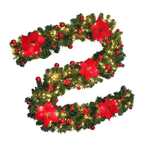 ODOMY Weihnachtsgirlande mit Beleuchtung, Tannengirlande Lichterkette Weihnachten Dekoration 2.7 Meter für Innen und Außen Verwendbar (Rot, 3M)