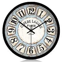 掛け時計 壁掛け 時計 掛け時計リビングルームクリエイティブファッションウォールチャート寝室ミュートクロックシンプルヨーロッパ装飾クォーツ時計電波時計 ヴィンテージウォールクロッ (Color : Arabic black frame, Size : 12 inch)