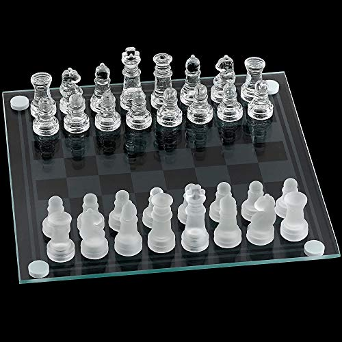 Kicko Glass Chess Set  14 Inch  33 Pieces  Transparent Board Game with Frosted and Clear Pieces Felt Bottom and Storage Case with Carrying Handle  for Family Game Night Kids Boy or Girl