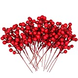Artiflr 30 Pcs Christmas Red Berries Stems, 8Inch Artificial Christmas Picks for Christmas Tree Ornaments, DIY Xmas Wreath, Crafts, Holiday and Home Decor