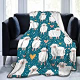 Abucaky Cute Sheep Fleece Throw Blanket Ultra Soft Cozy Decorative Flannel Blanket All Season for Home Couch Bed Chair Travel 50x40in