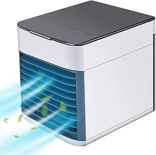 GJXY Aire Acondicionado Móvil, Aire Acondicionado Portátil,3 en 1 USB Mini Ventilador Humidificador Purificador con 7 Colores Luces LED, con 3 Velocidades de Viento para Casa/Oficina,White