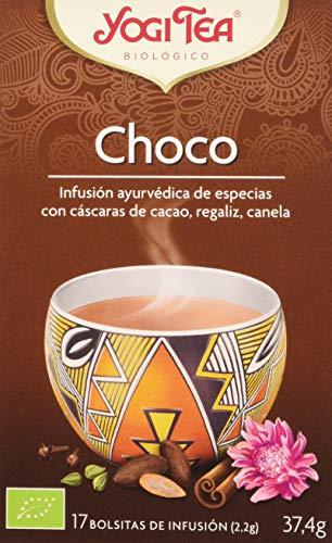 Yogi Tea - Choco, Infusión Ayurvédica de Especias con Cáscaras de Cacao, Regaliz y Canela - 17 Bolsitas, 37.4 g