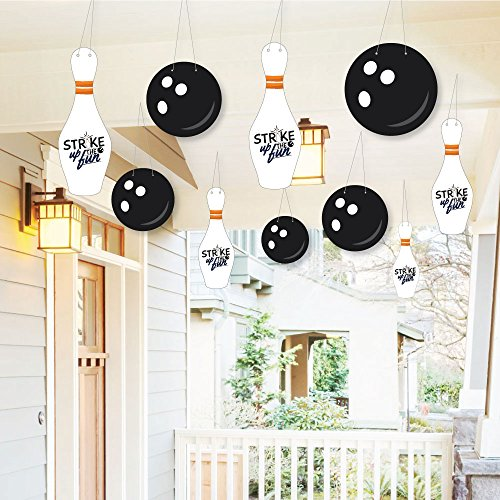 Hanging Strike Up The Fun - Bowling - Outdoor Hanging Decor - Baby Shower or Birthday Party or Decorations - 10 Pieces