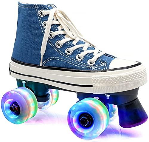 KUXUAN Zapatos de Patines LED Dobles para Niños - Patines Cuádruples Altos Zapatos Unisex para Amantes Ruedas Intermitentes de Dos Líneas Rueda de Doble Fila,Blue-8.5UK=(265mm)=42.5EU