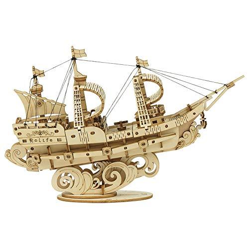 Puzzles Madera Maquetas para Construir 4 Tipos De Bricolaje Vintage Barco De Vela 3D Juego De Rompecabezas De Madera Ensamblaje Barco Juguete Regalo para Niños Adolescentes Adultos-Velero