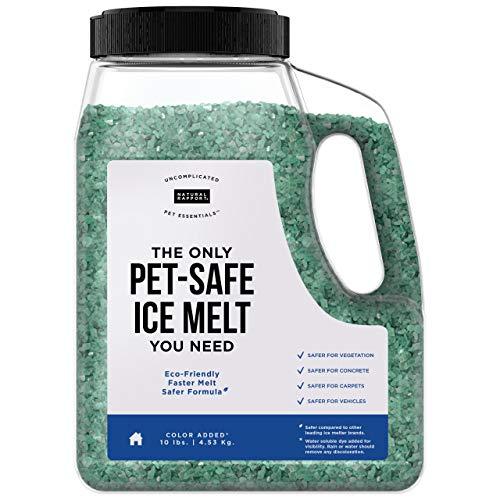 Natural Rapport Pet Friendly Ice Melt - Calcium Chloride Free, Pet Safe Ice Melter, Rock Salt Alternative - Time Release Deicer Formula Lasts 3X Longer (10 lb)