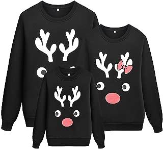 Girls Reindeer Christmas Family Matching Sweatshirt Long Sleeve Cute Shirt Tops